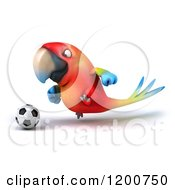 3d Macaw Parrot Playing Soccer 2