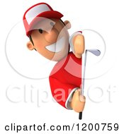 Clipart Of A 3d Golfer Toon Guy In A Red Shirt Looking Around A Sign Royalty Free CGI Illustration by Julos