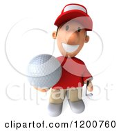 Clipart Of A 3d Golfer Toon Guy In A Red Shirt Holding Up A Ball Royalty Free CGI Illustration by Julos