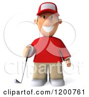 Clipart Of A 3d Golfer Toon Guy In A Red Shirt Royalty Free CGI Illustration by Julos
