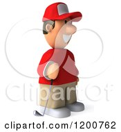 Clipart Of A 3d Golfer Toon Guy In A Red Shirt Facing Right Royalty Free CGI Illustration by Julos