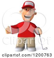 Clipart Of A 3d Happy Presenting Golfer Toon Guy In A Red Shirt Royalty Free CGI Illustration by Julos