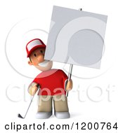 Clipart Of A 3d Golfer Toon Guy In A Red Shirt Holding A Sign Royalty Free CGI Illustration by Julos