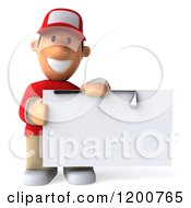 Clipart Of A 3d Golfer Toon Guy In A Red Shirt Holding A Sign 2 Royalty Free CGI Illustration by Julos