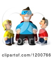 Clipart Of A 3d Happy Super Dad And Children Royalty Free CGI Illustration
