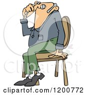 Cartoon Of A Farting Guy Sitting In A Chair And Passing Gass Royalty Free Vector Clipart