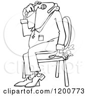 Cartoon Of An Outlined Farting Man Sitting In A Chair And Passing Gass Royalty Free Vector Clipart