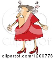 Cartoon Of An Angry Woman Steaming Mad And Clenching Her Fists Royalty Free Vector Clipart