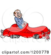 Cartoon Of A Mad Male Driver In A Sick Broken Down Car Royalty Free Vector Clipart