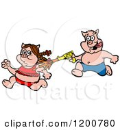 Cartoon Of A Male Pig Chasing A Female With A Bbq Sauce Squirt Gun Royalty Free Vector Clipart by LaffToon