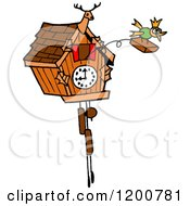 Cartoon Of A Bird Emerging From A Cuckoo Clock Royalty Free Vector Clipart by LaffToon