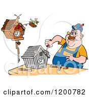 Cartoon Of A Bird Emerging From A Cuckoo Clock Over A Repair Man Royalty Free Vector Clipart by LaffToon