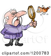 Senior Birdwatching Man In A Robe Viewing A Bird Through A Magnifying Glass