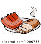 Cartoon Of A Hot Beef Brisket And Bbq Ribs Royalty Free Vector Clipart