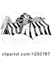 Cartoon Of A Black And White Ferris Wheel Roller Coaster And Circus Tents In A Theme Park Royalty Free Vector Clipart