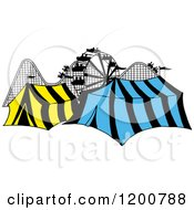 Cartoon Of A Ferris Wheel Roller Coaster And Circus Tents In A Theme Park Royalty Free Vector Clipart