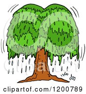 Cartoon Of A Weeping Willow Tree With Tears Royalty Free Vector Clipart
