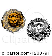 Black And White And Orange Angry Lion Heads