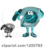 Clipart Of A Turquoise And Grayscale Telephone Mascot Holding A Receiver And A Finger Up Royalty Free Vector Illustration
