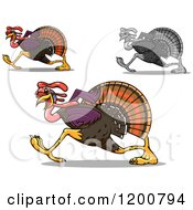 Clipart Of Running Turkey Birds Royalty Free Vector Illustration