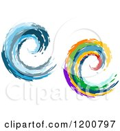Clipart Of Colorful And Blue Painted Curling Waves 4 Royalty Free Vector Illustration