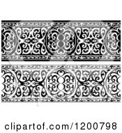 Clipart Of Black And White Ornate Arabian Borders Royalty Free Vector Illustration
