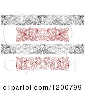 Clipart Of Black And White And Red Ornate Floral Borders Royalty Free Vector Illustration