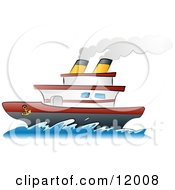 Steamship Boat On The Ocean Clipart Illustration