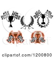 Clipart Of Racing Trophy Cup Checkered Flags And Wreaths Royalty Free Vector Illustration