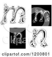 Clipart Of Vintage Black And White Floral Letters M And N Royalty Free Vector Illustration