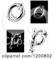 Clipart Of Vintage Black And White Floral Letters O And P Royalty Free Vector Illustration