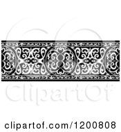 Clipart Of A Black And White Ornate Arabian Border Royalty Free Vector Illustration