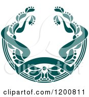 Clipart Of A Vintage Teal Coat Of Arms Wreath With Ribbons 2 Royalty Free Vector Illustration