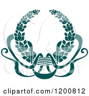 Clipart Of A Vintage Teal Coat Of Arms Wreath With Ribbons Royalty Free Vector Illustration