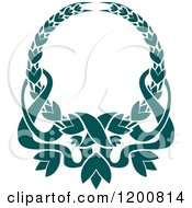 Clipart Of A Vintage Teal Coat Of Arms Wreath With Ribbons 3 Royalty Free Vector Illustration