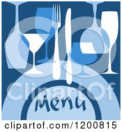 Clipart Of A Beverage Menu With Glasses And Silveware On Blue Royalty Free Vector Illustration