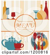 Clipart Of A Beverage Menu With Bottles Glasses And Silveware On Stripes Royalty Free Vector Illustration