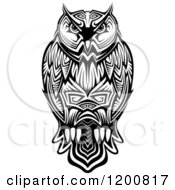 Clipart Of A Black And White Tribal Owl Royalty Free Vector Illustration by Seamartini Graphics