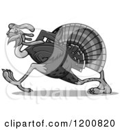 Clipart Of A Grayscale Running Turkey Bird Royalty Free Vector Illustration