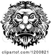 Clipart Of A Black And White Angry Lion Head Royalty Free Vector Illustration