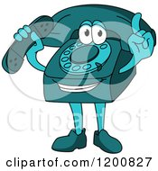 Clipart Of A Turquoise Telephone Mascot Holding A Receiver And A Finger Up Royalty Free Vector Illustration