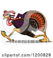 Clipart Of A Running Turkey Bird Royalty Free Vector Illustration