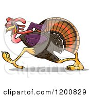Clipart Of A Running Gobbler Turkey Bird Royalty Free Vector Illustration