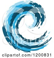 Clipart Of A Blue Painted Curling Wave 4 Royalty Free Vector Illustration by Vector Tradition SM