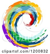 Clipart Of A Colorful Painted Curling Wave 4 Royalty Free Vector Illustration by Vector Tradition SM