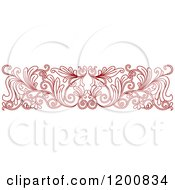 Clipart Of A Red Ornate Floral Border Royalty Free Vector Illustration