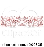 Clipart Of A Red Ornate Floral Border 2 Royalty Free Vector Illustration