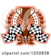 Clipart Of A Racing Trophy Cup And Checkered Flags With A Laurel Wreath And Stars Royalty Free Vector Illustration