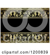 Clipart Of A Vintage Ornate Black And Gold Ornate Background With Text Space Royalty Free Vector Illustration