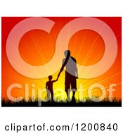 Clipart Of A Silhouetted Boy Holding Hands With A Man Father And Son Walking In Grass Towards An Orange Sunset Royalty Free Vector Illustration